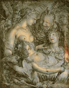 Hendrick Goltzius.  Venus Without Ceres and Bacchus Venus Would Freeze  thumbnail